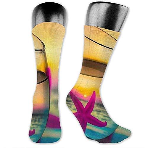 lucies Unisex Sport Socken Tasse Seestern Wicking Kissen Kissen Socken High Ankle Sport Athletic Lange Socken Komfort Atmungsaktive Socken 40cm