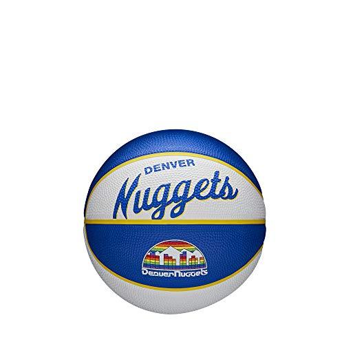 Wilson Mini Pelota de Baloncesto Team Retro, Denver Nuggets, Exterior, Caucho, Tamaño: Mini