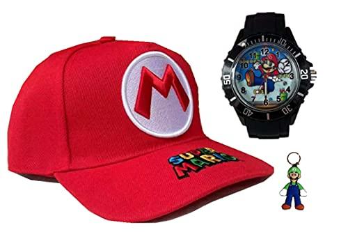 Reloj super mary hat Anime Super Mario sombrero bordado rojo lindo dibujos animados colegial moda al aire libre gorra de béisbol con protección solar