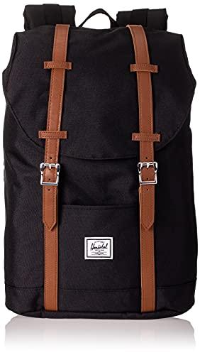 Herschel Retreat Zaino medio, 16,25 x 11 x 4,75 cm, Nero (Black/Tan Synthetic Leather), 16.25 x 11 x 4.75 cm, Zaino