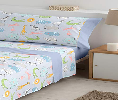 Juego de sábanas Infantiles con Tres Piezas de polialgodón Mod. Animal Park (Azul, 90_x_190/200 cm)