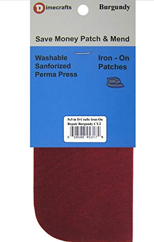 2 Pieces Iron-On Canvas Repair Patches 5 x 5 Inch, Burgundy Compare to Bondex