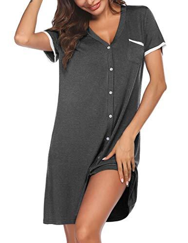 Ekouaer Nightgowns for Women Short Sleeve Sleepshirt Soft Knit Sleepwear Gray L