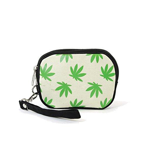 Fresh Green Marijuana Palmate Leaves Printed Canvas Wristlet