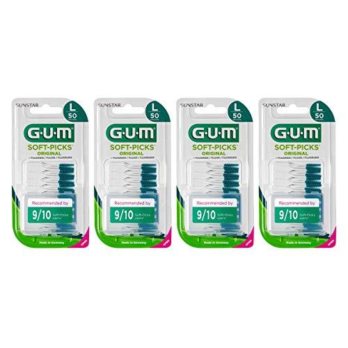 GUM SOFT-PICKS ORIGINAL Scovolini Interdentali in Gomma/Per Rimuovere Placca e Residui di Cibo/Facili da usare/Senza lattice, legno e metallo/Misura Large / 4 Confezioni da 50 pz