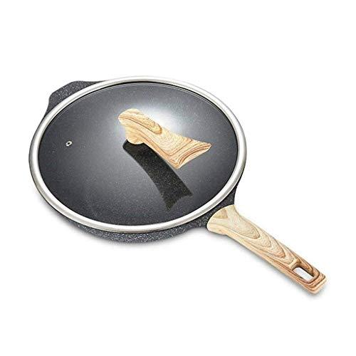 Steen platte bodem anti-aanbaklaag, niet-roken wok biefstuk koekenpan met glazen deksel HRSS