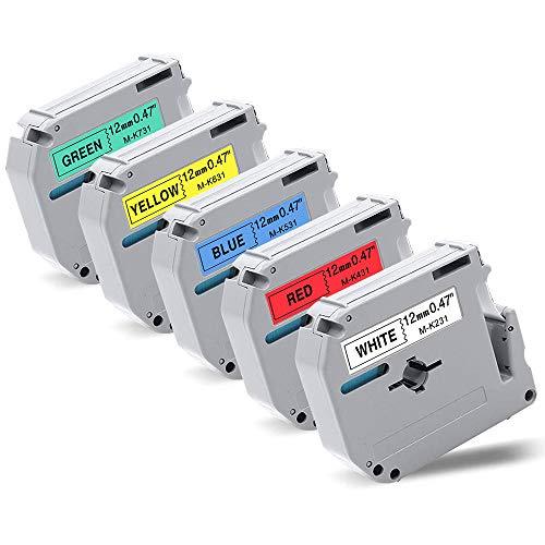 Fimax Compatible Label Tape Replacement for Brother M Tape MK231 MK431 MK531 MK631 MK731 12mm 0.47 Inch for Brother PT-M95 PT-90 PT-70 PT-65 PT-85, 5-Pack