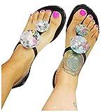 KAIXLIONLY Women Fashion Rhinestone Sandals with Buckle Strap Open Toe Flat Sandals Summer Beach Sandals Diamond Flip-Flops Black