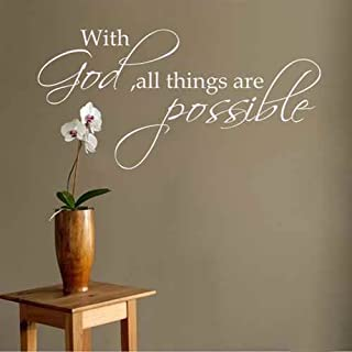 Diggoo With God All Things Are Possible Religious Wall Decal Bible Verse Vinyl Art Quote(White,xs)