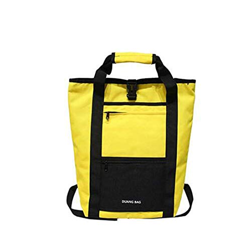 DHTOMC Backpack female, travel student sports backpack lightweight comfortable large capacity wild casual zipper computer backpack Xping (Color : Yellow)