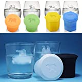 3D Silicone Animal Ice Cube Molds Set, Polar Bear Penguin and Elephant Orangutan Shaped Ice Cube Trays with Lids Ice Cube Maker Tool for Whiskey, Cocktails, coffee, tea, fruit juice (6)