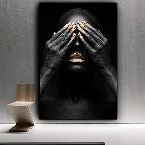 SDFSD olieverfschilderij met zwarte hand en gouden lip, olieverfschilderij op canvas, posters, kunstdruk, voor woonkamer 50X75CM Q