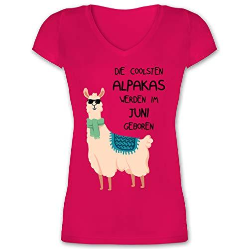 Geburtstag - Die coolsten Alpakas Werden im Juni geboren Sonnenbrille - XXL - Fuchsia - die coolsten alpakas Werden im Juni geboren - XO1525 - Damen T-Shirt mit V-Ausschnitt