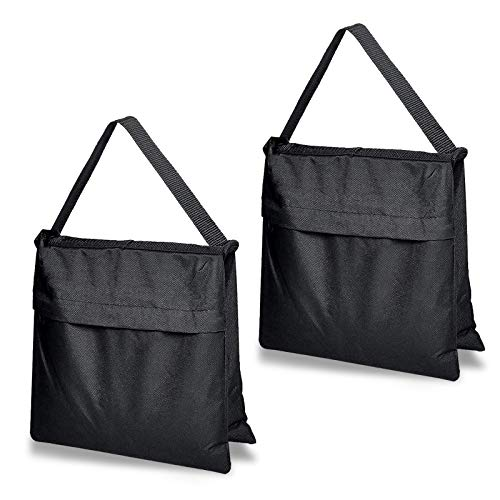 DERSERCO Heavy Duty Sandbag for Photography Empty Sand Bags Weights for Photo Video Studio Stand Light Stand Backyard Outdoor Patio Sports,2 Packs(Black)