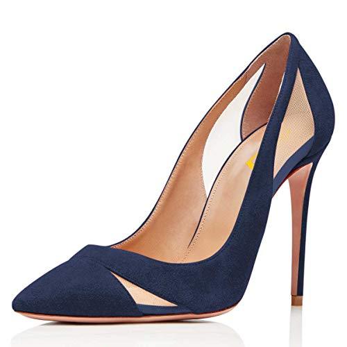 FSJ Women Mesh Pointed Toe Stiletto Thin High Heel Pumps Slip on Dress Ladies Shoes Size 11 Navy