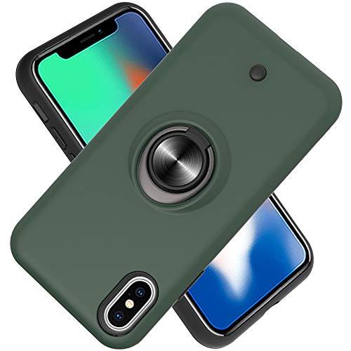 FAWUMAN Hülle für iPhone XS Max(6.5 inch) mit Standfunktion, Dekomprimierungsknopf, Rotationsgyroskop, PC + TPU Handyhülle Stossfest Case -Dunkelgrün