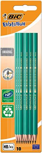 BIC Bleistift Evolution Original 650 HB, Blister à 10 Stück, grün