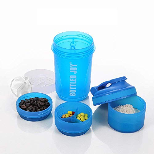 BOTTLED JOY Protein Shakers bottles 600ml BPA Free Strong Durable Workout Gym Water Nutrition Shaker Bottle with Storage (600ml Blue)