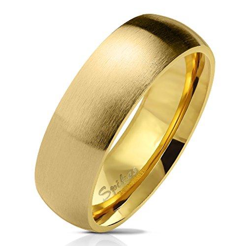 eeddoo® Damen Mode-Ringe aus Edelstahl Klassischer Standard mit Matter Optik ((3) Gold Stahl, 56 (17.8))