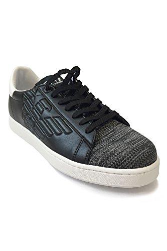 Emporio Armani EA7 Herren Sneaker Low Classic Premium - Turnschuhe im Materialmix aus Leder und Textil in melierter Strick-Optik mit Logo-Prägung – Black, Größe:41 1/3;Farbe:Schwarz
