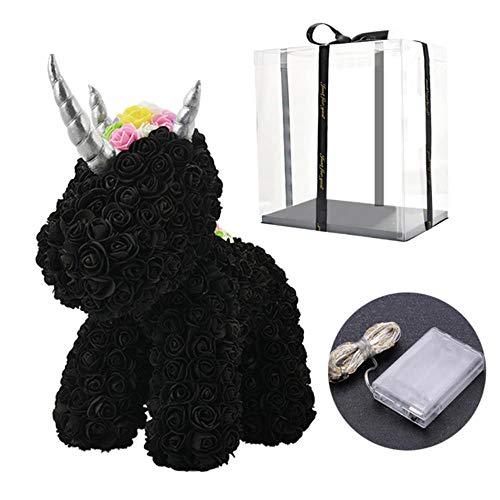 2020 Hot Sale Rabbit Dog Panda Unicorn Teddy Bear Rose Soap Foam Flower Kunstspeelgoed Kerstcadeaus voor vrouwen Valentines Gift, Black in Box LED