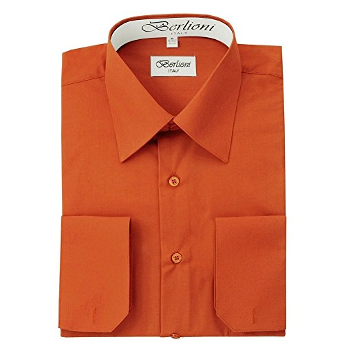 Berlioni Men's Long Sleeve Dress Shirts | Solid Colors & Convertible Classic French Cuffs | Roomiest Fit Button Up Dress Shirt | Cotton & Polyester Machine Washable Available Rust