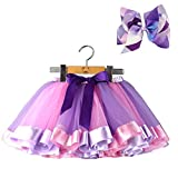 BGFKS Layered Ballet Tulle Rainbow Tutu Skirt for Little Girls Dress Up with Colorful Hair Bows(Purple,2-4T)
