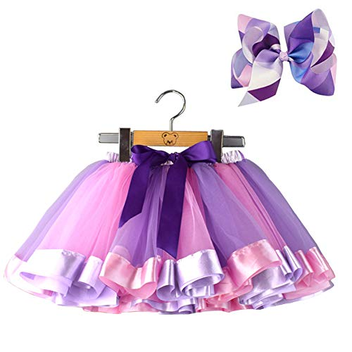 BGFKS Layered Ballet Tulle Rainbow Tutu Skirt for Little Girls Dress Up with Colorful Hair Bows (Purple,4-8X)