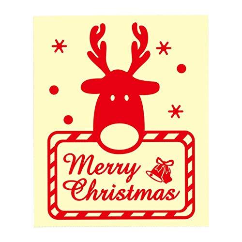 Sunneey reflecterende stickers voor het autoraam, kerststicker, glazen deur en raamdecoratie, patroonstickers met kerstwensen, PVC-rood, 20 15 cm, geen spoor, hergebruik