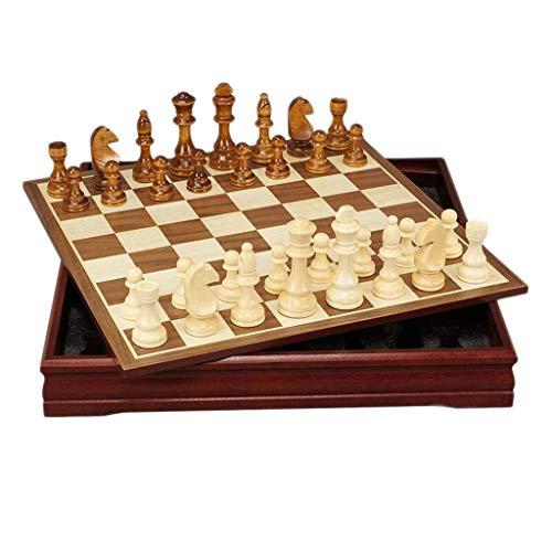 ADSE Traditionelle Spiele Schach Schach Schachbrett aus Holz Kreatives Schachspiel aus Holz Kinder Intellektuelle Entwicklung Lernen Sie Spielzeug Aufbewahrungsprüfer Schach (30 * 30 * 4 cm)