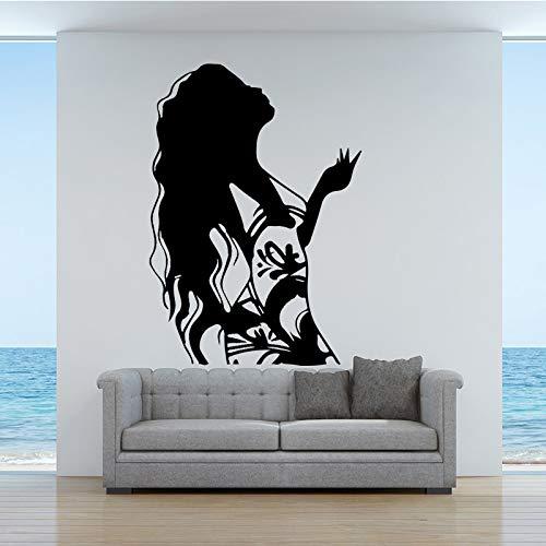 Langes Haar Frau Design Home Decor Wandaufkleber für Kinderzimmer Wohnzimmer Tapete Home Decoration Kaffee M 30cm x 42cm