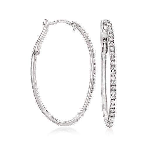 Ross-Simons 0.50 ct. t.w. Diamond Oval Hoop Earrings in Sterling Silver