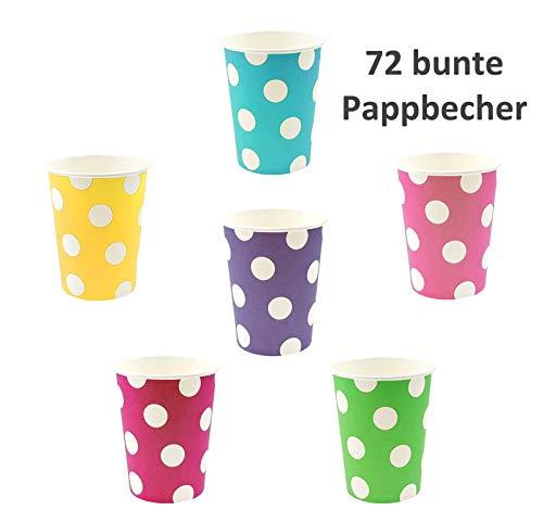 72vasos de papel Lunares–Multicolor/Blanco, 225ml, 9x 7,5cm (hxø), por 12x Azul, Verde, Amarillo, rosa, morado y rosa