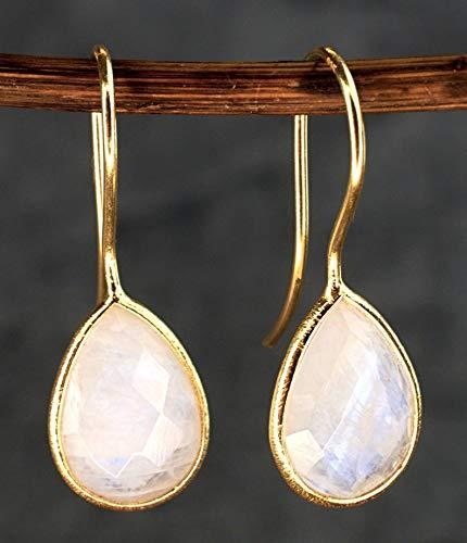 Ohrringe Mondstein Tröpfchen - Silber Vergoldet 925 Sterling - Moonstone Ohrhänger Hängend