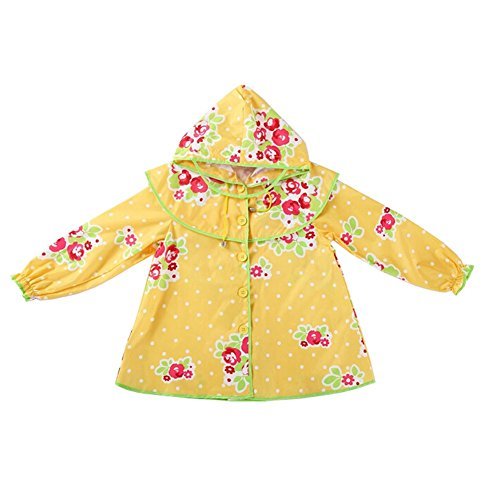 coréen Baby-girls Robe de princesse pluie Mode enfants pluie Jaune S