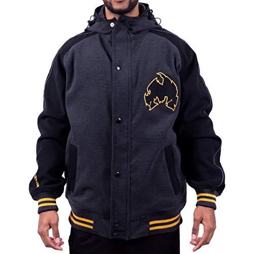 WU Wear Method Man Melton Veste d'Hiver, Urban Streetwear Veste Ville, Hip Hop Blouson, Veste Homme, Noir Taille XXL, Couleur Black