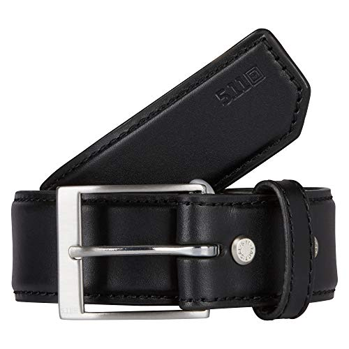5.11 Tactical Men's 1.5' Casual Leather Belt - Plainclothes Duty or Covert Operations, Style 59501, Medium, Black