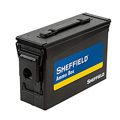Sheffield 12641 .30 Caliber Tactical Ammo Can, Air Tight & Waterproof Box, Tamper Proof, Stackable Design, Black
