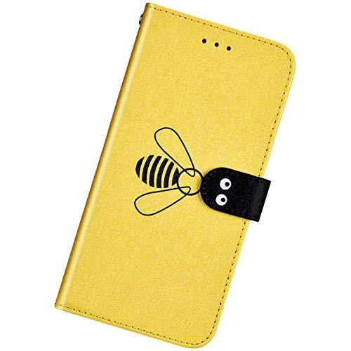 Urhause Kompatibel mit Huawei Honor V20,Ultra Slim Feine Linien Hülle Schutzhülle Bienen Muster Brieftasche Ledertasche mit Standfunktion Karten Slot Magnetverschluß Stoßfest Handyhülle,Gelb