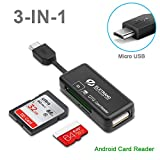 Micro USB OTG to USB 2.0 Adapter, 2-in-1 SD/Micro SD Memory Card Reader Connector Male Micro USB & Female USB Write Micro SD(HC/XC) SD TF Cards for Android Smart Phones/Tablets with OTG Function