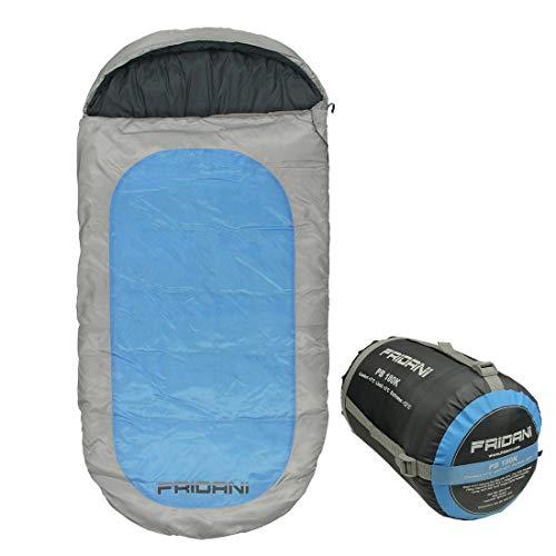 Fridani Kinderschlafsack PB 180x90cm XXL Deckenschlafsack -12°C Blau warm wasserabweisend waschbar