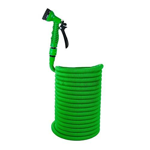 Grafner® Premium-Starter Flexibler Gartenschlauch | 30 Meter | Ultra-Robustes Mesh-Gewebe | 30 Meter | KEIN PLATZEN! | 8-Fach Brause | grün | Dehnbarer Wasserschlauch Schlauch