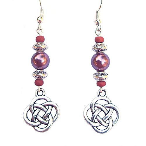 Beaded Celtic Knot Rose Mauve and Silver Handcrafted Dangle Earrings