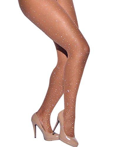 CHRLEISURE Women's Sparkle Rhinestone Fishnets Sexy Tights High Waist Stockings Skin