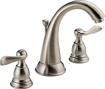 Delta Faucet Windemere Widespread Bathroom Faucet Brushed Nickel, Bathroom Faucet 3 Hole, Bathroom Sink Faucet, Metal Drain Assembly, Stainless B3596LF-SS