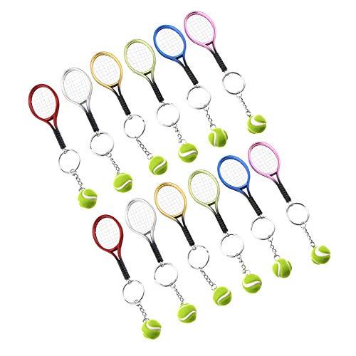 OTOTEC - Llavero de tenis (12 unidades, 6 colores), diseño de raqueta