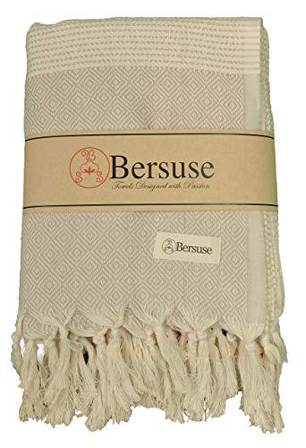Bersuse Hierapolis Serviette Turque XXL 100 % Coton Beige XL 152,4 x 241,3 cm