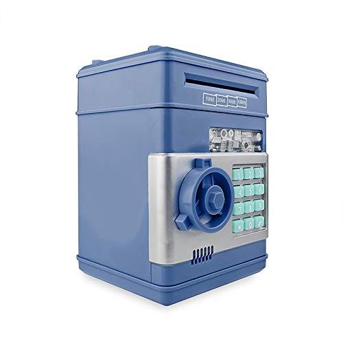 CAMPSLE Hucha de dinero electrónico, hucha con contraseña electrónica, mini cajero automático, dinero en efectivo, caja de dinero, tarro, ranura para dinero automática para niños (Azul)