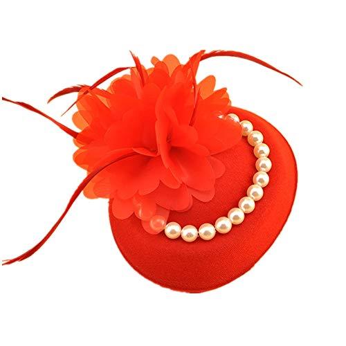 Pequeño sombrero británico Vintage Bibi Cabello Boda Elegante con Flor Perlas Plumas Fascinator Hat Ceremonia Derby...