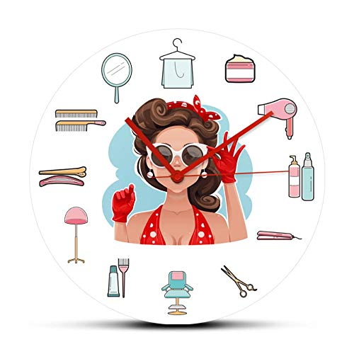 Wjlytf Chica Pin-up con Gafas de Sol, Equipos de peluquería, Reloj de Pared silencioso de Cuarzo, Reloj de Pared acrílico de Estudio de Belleza para Mujer de Moda, 30 cm